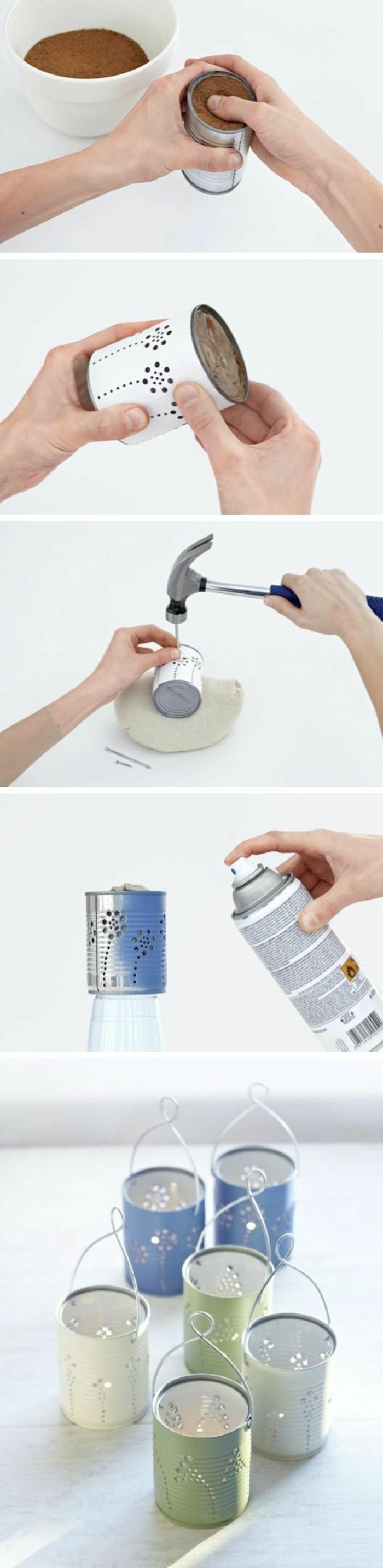 proyectos DIY originales con latas de conservas, cómo pintar una lata y hacer linternas DIY