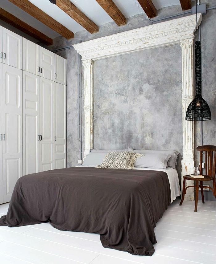 decoracion dormitorios de matrimonio en estilo vintage, habitaciones modernas decoradas en gris