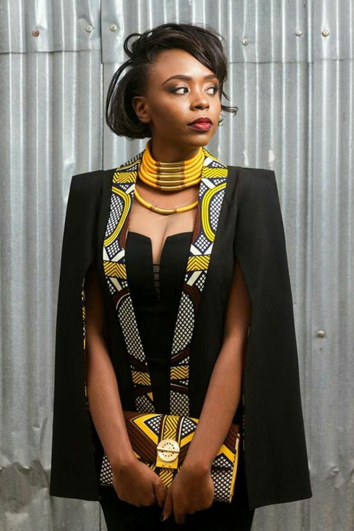 traje inspirado en la moda africana chaqueta de corte super original en negro con detalles en amarillo
