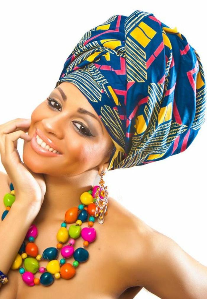 pañuelos para cabeza coloridos a la moda africana, pañuelo en azul, amarillo, rosado y collar original