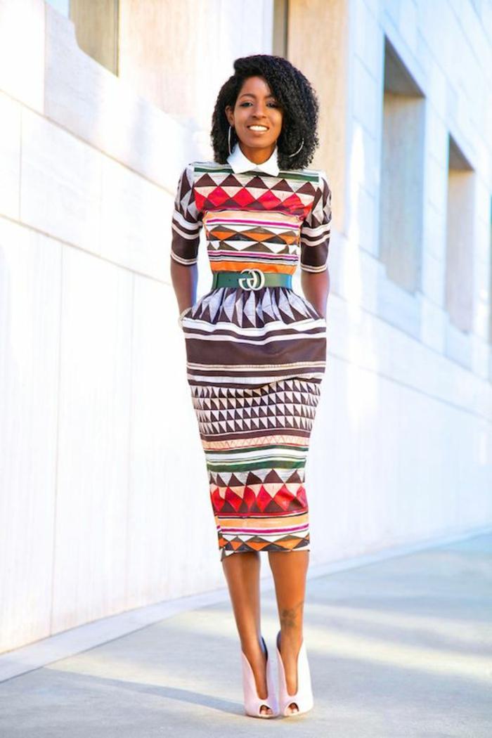 vestido elegante estrecho con estampados africanos, prendas modernas mujer inspiradas en la moda africana