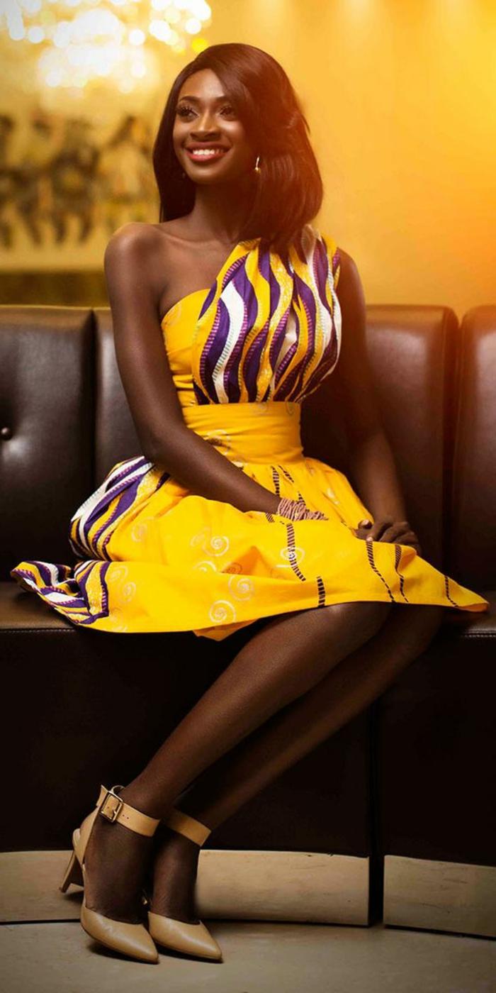 los vestidos más bonitos inspirados en la moda africana, vestido amarillo asimétrico sin mangas