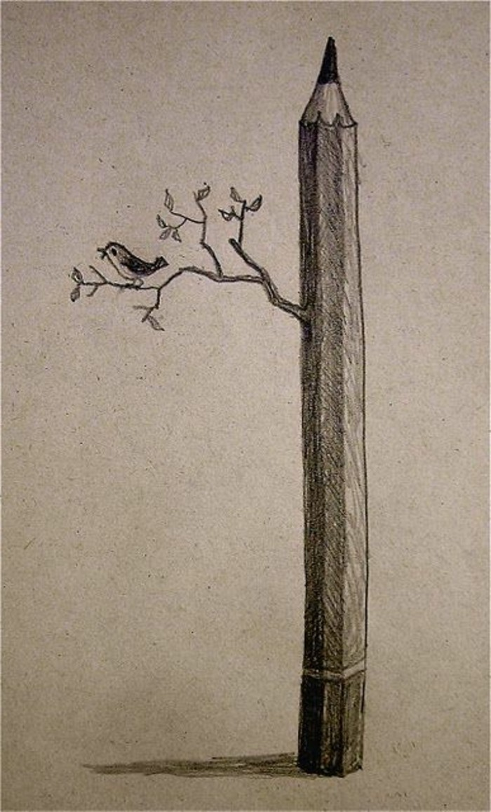 originales ideas de dibujos a lapiz faciles, grande lápiz árbol con hojas verdes y pájaro, dibujos abstractos