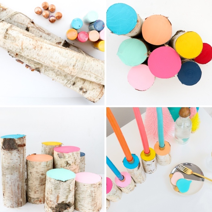 como hacer candelabros vintage conpalos de madera y velas aromáticas coloridas, decoración de mesas paso a paso