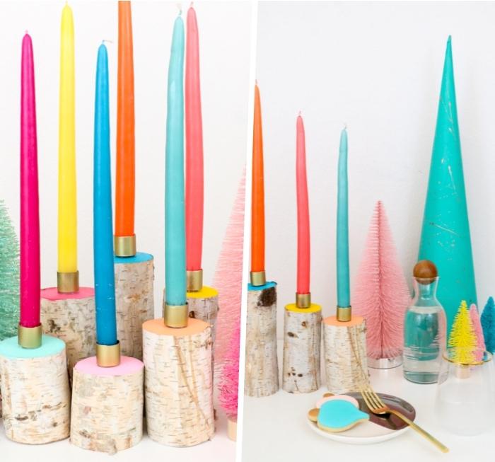 centro de mesa con tapas de corcho, candelabros DIY en colores hechos de materiales reciclados