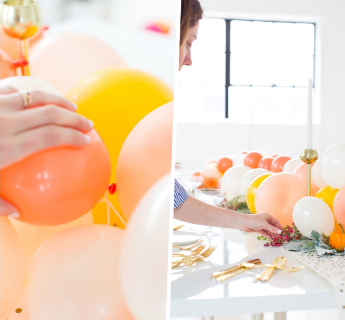 originales ideas de decoración de mesas con globos, lobos coloridos para decorar la mesa