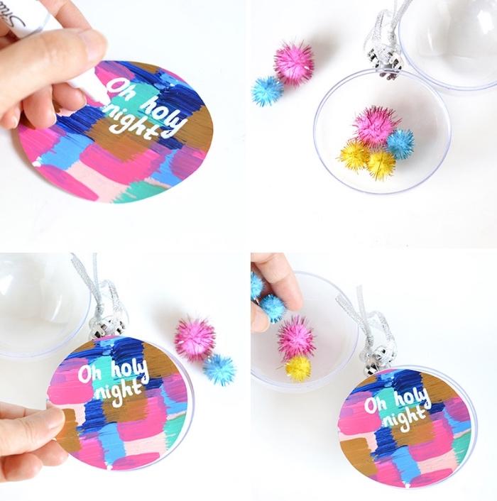 como hacer detalles bonitos para decoracion de mesas, bolas coloridas puestas en la mesa