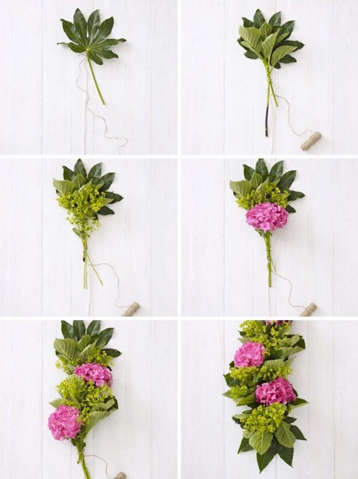 decoracion centro de mesa DIy paso a paso, como hacer una guirnalda de flores para decorar la mesa