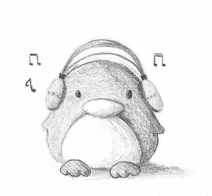 los dibujos a lapiz faciles más tiernos, dibujo de pequeño pinguino con sombreados, dibujos para principiantes