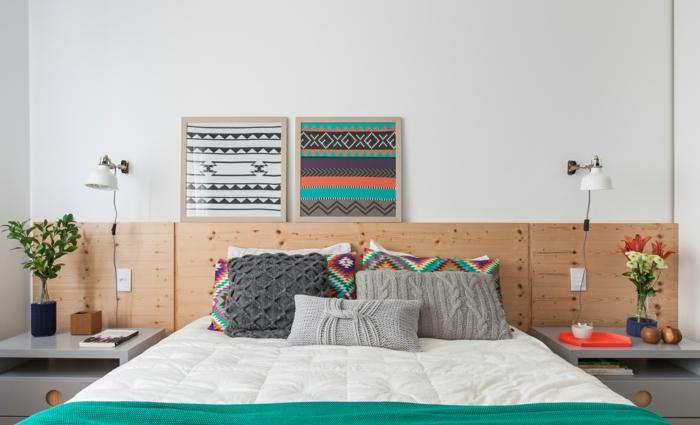 preciosas ideas de dormitorios de matrimonio modernos decorados con mucho encanto, cama cabecero de madera