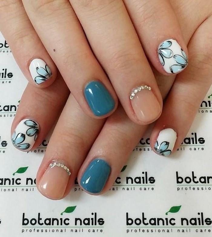 uñas pintadas en diferentes colores, uñas en gel decoradas con motivos florales, 100 fotos de uñas decoradas con piedras