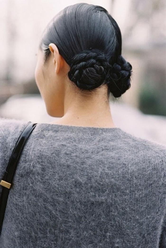 peinados recogidos con trenzas, dos bollos trenzados, las mejores ideas de peinados pelo recogido