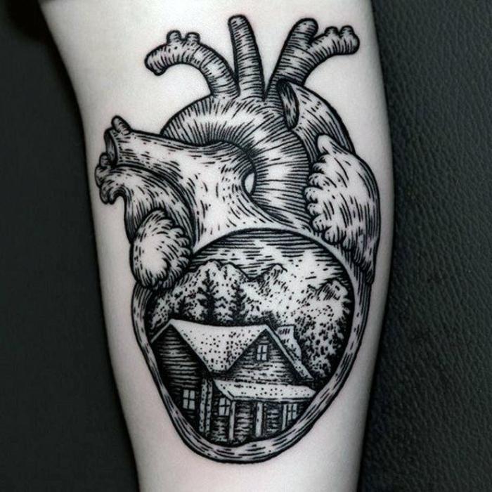 tatuaje corazon anatómico, las mejores propuestas de tattoos con corazones, diseños con fuerte significado