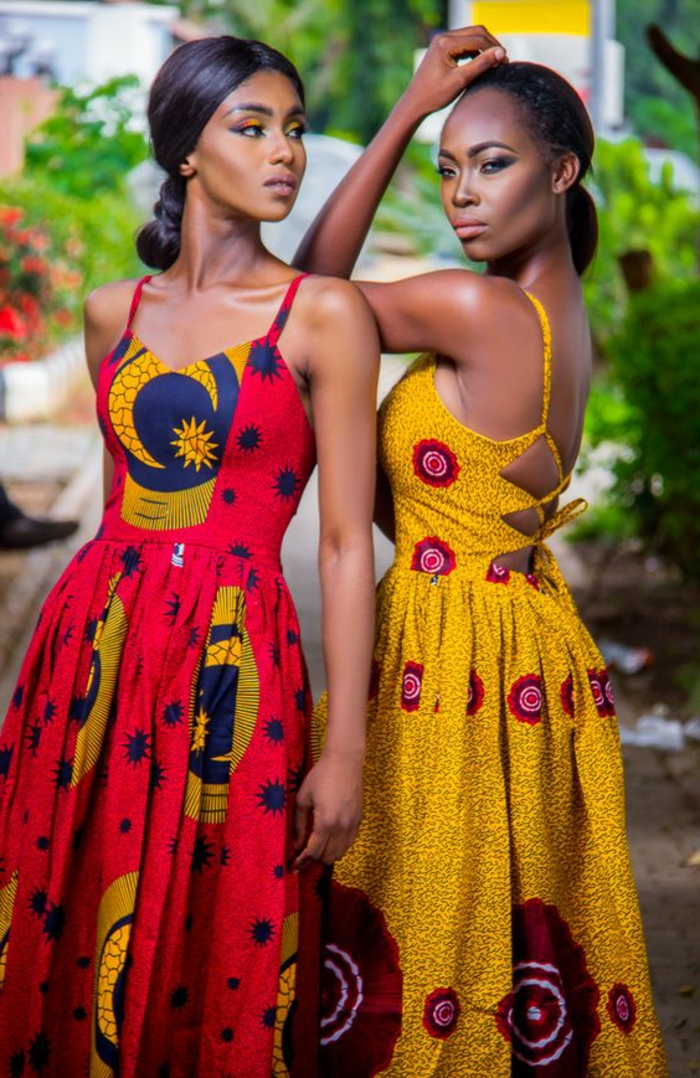 dos vestidos super bonitos a la moda africana, colores llamativos e intensos, vestidos largos etnicos