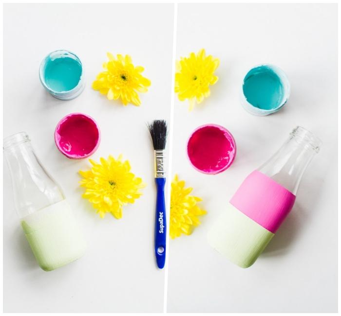 ideas de decoracion centro de mesa con flores y pinturas coloridas, manualidades para decorar la casa