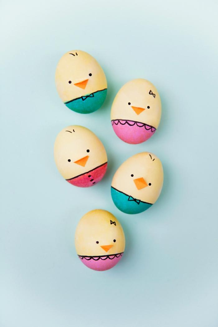 divertidas propuestas de decoración de huevos de pascua, manualidades huevos de pascua, huevos pollo