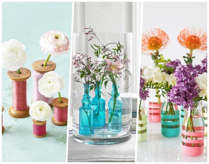 diferentes ideas de decoracion centro de mesa con floreros decorados a mano originales