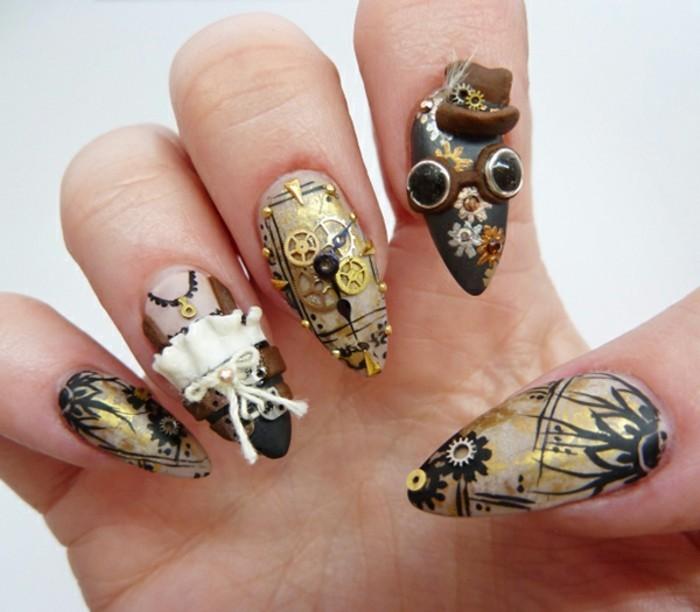 espectaculares ejemplos de uñas en gel decoradas con piedras, uñas de forma almendrada con decoración original