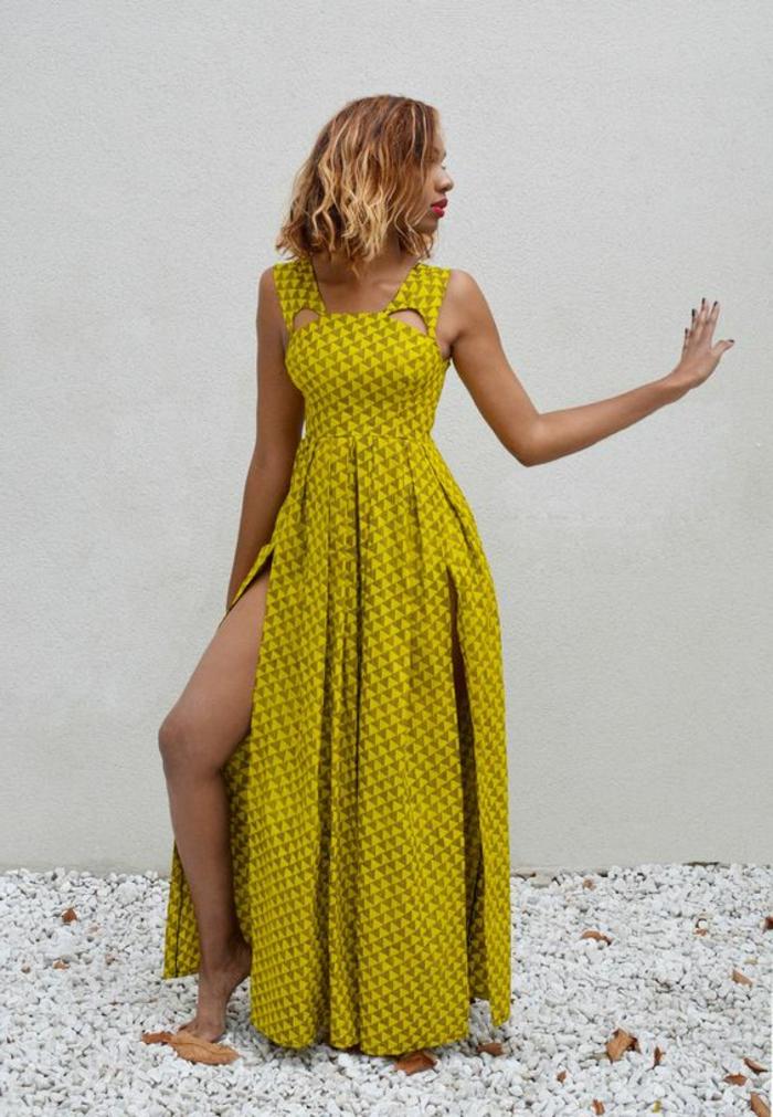 vestido en amarillo super bonito con larga hendidura, ropa africana moderna en colores llamativos