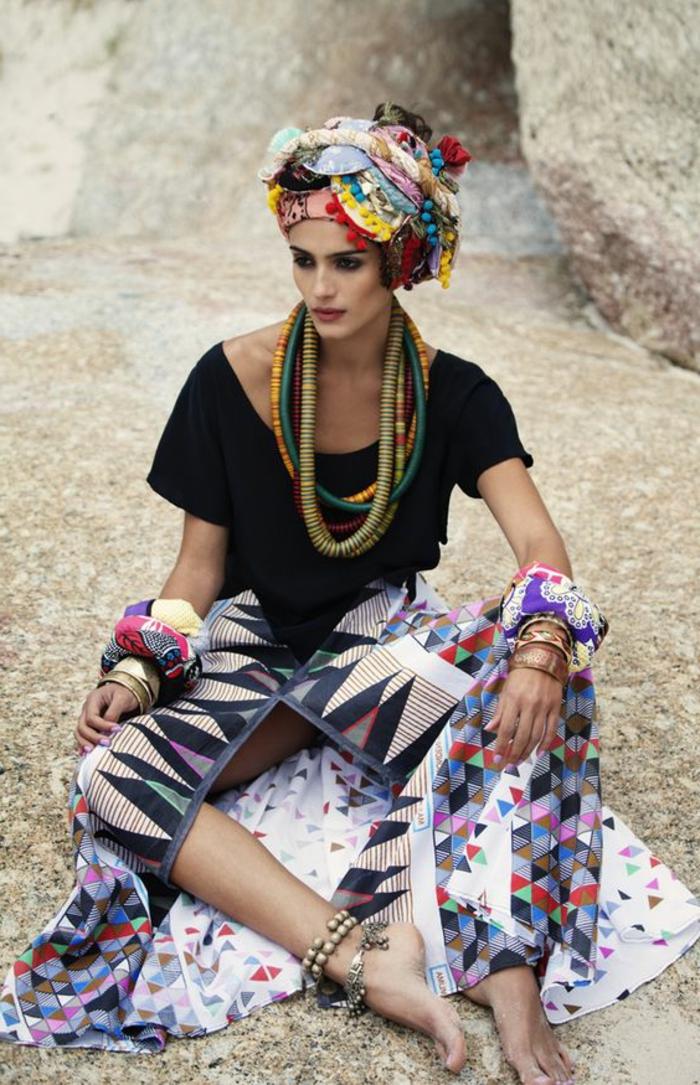 preciosas prendas inspiradas en la ropa de Africa, estampados africanos coloridos con elementos geométricos