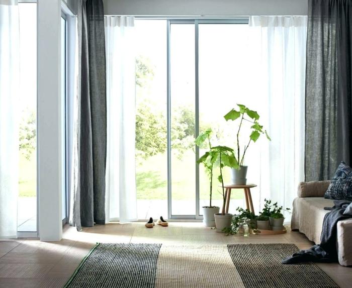 decoracion habitación estilo contemporáneo, suelo de parquet alfombra en gris y beige, plantas verdes