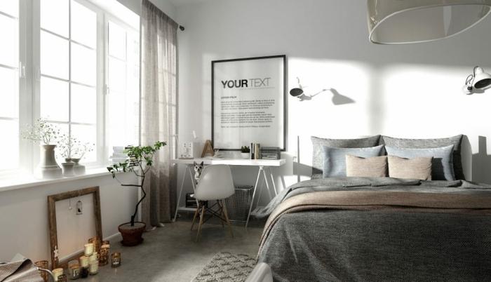 habitación decorada en blanco y gris, suelo de moqueta, paredes blancas y detalles decorativos, habitaciones de matrimonio modernas