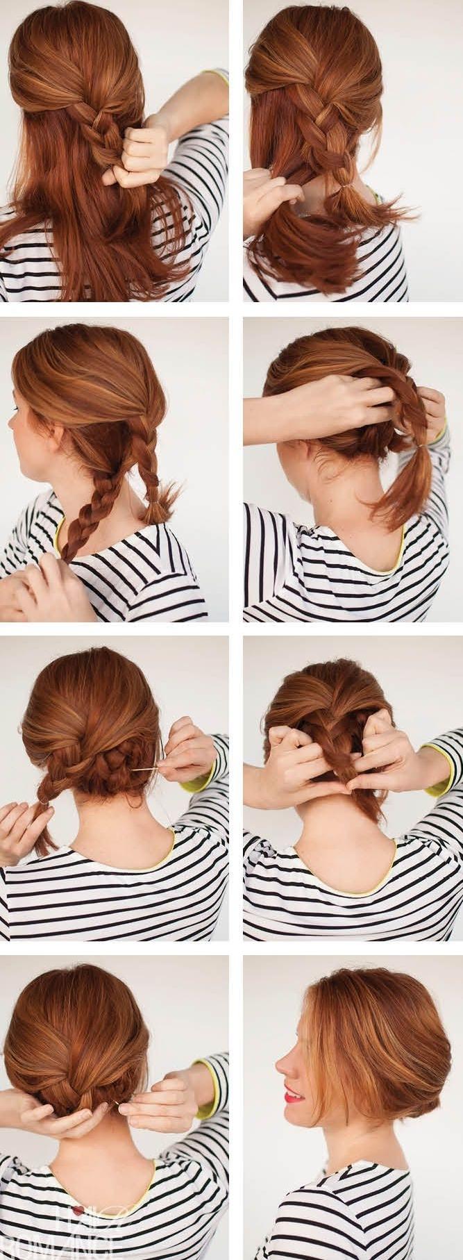 recogidos con trenzas paso a paso, tutoriales de peinados fáciles de hacer y super originales