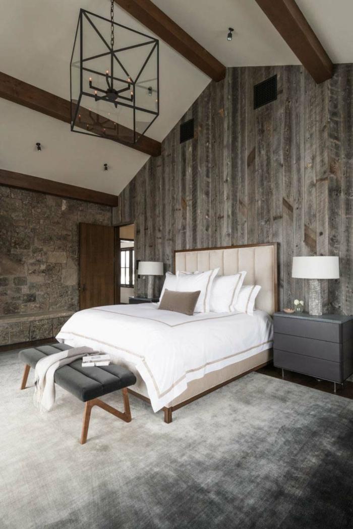 fotos de habitaciones modernas, habitación en estilo rústico moderno, techo con vigas y suelo de moqueta