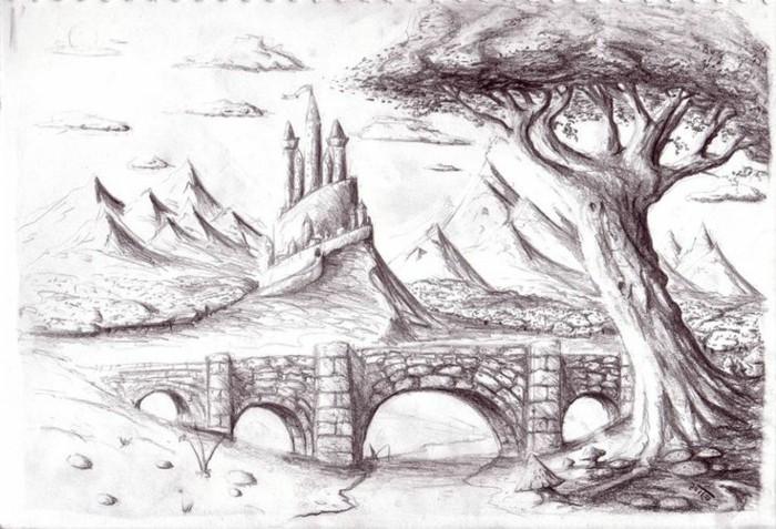precioso paisaje con un castillo medieval, dibujo artistico original, aprender a dibujar con lapices paso a paso