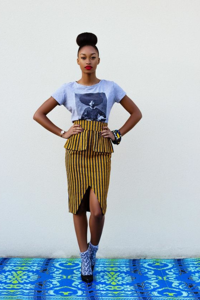las mejores ideas de prendas inspiradas en la moda de africa, faldas africanas modernas en colores llamativos