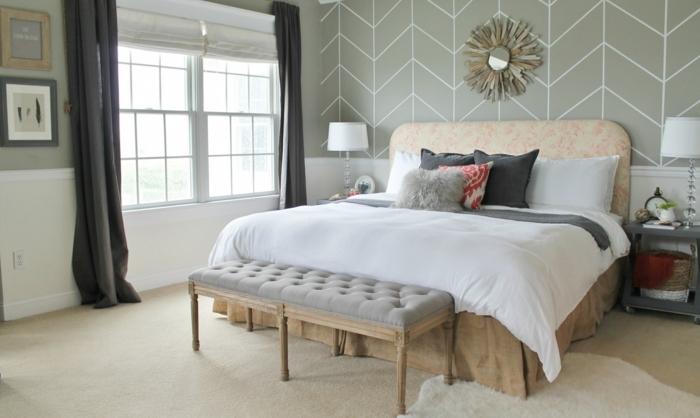 ideas de decoración habitaciones modernas en colores neutrales, cama doble con capitoné en estilo provanzal