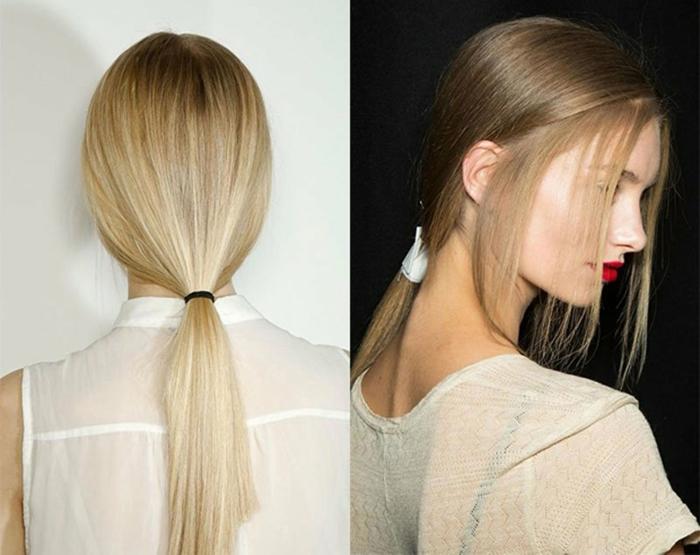 últimas tendencias en peinados mujer, peinados recogidos originales, coletas bajas elegantes