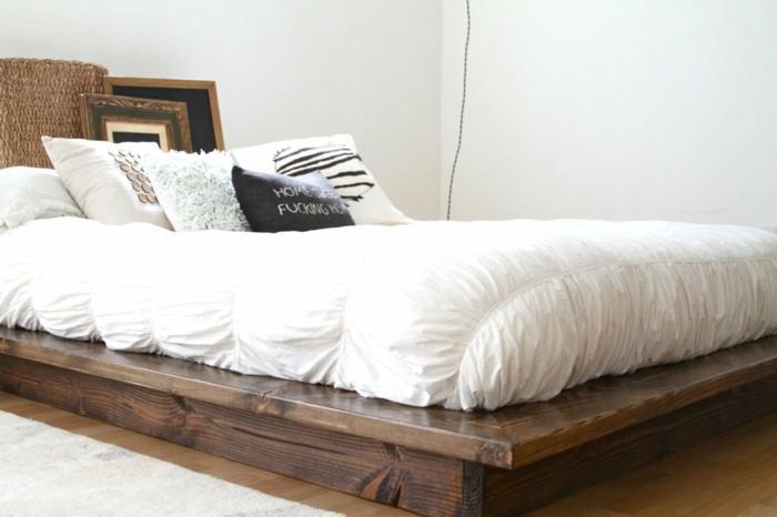 cama de madera moderna, ideas de muebles dormitorio en estilo rústico moderno, blanco y madera