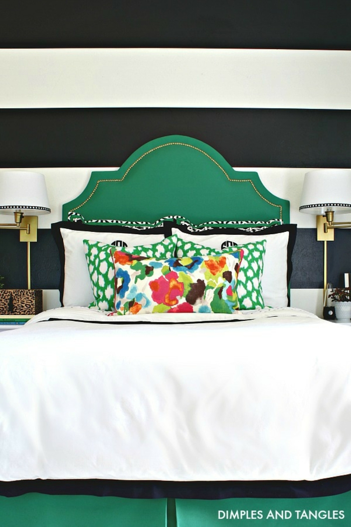 decoración dormitorio en estilo ecléctico, muebles dormitorio en estilo vintage, cama color verde