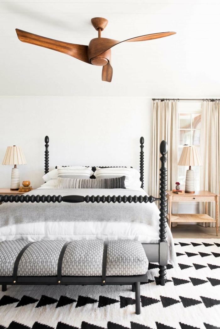 ideas de muebles dormitorio de diseño original, habitación decorada en blanco y negro y detalles geométricos