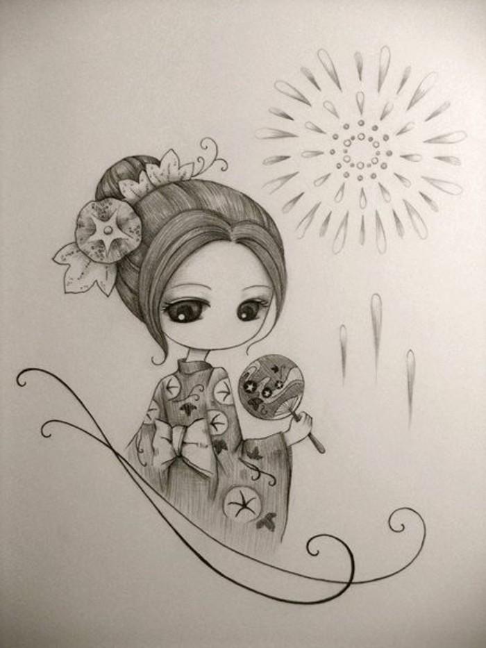 dibujos sombreados originales, precioso dibujo de geisha, ideas de dibujos para principiantes