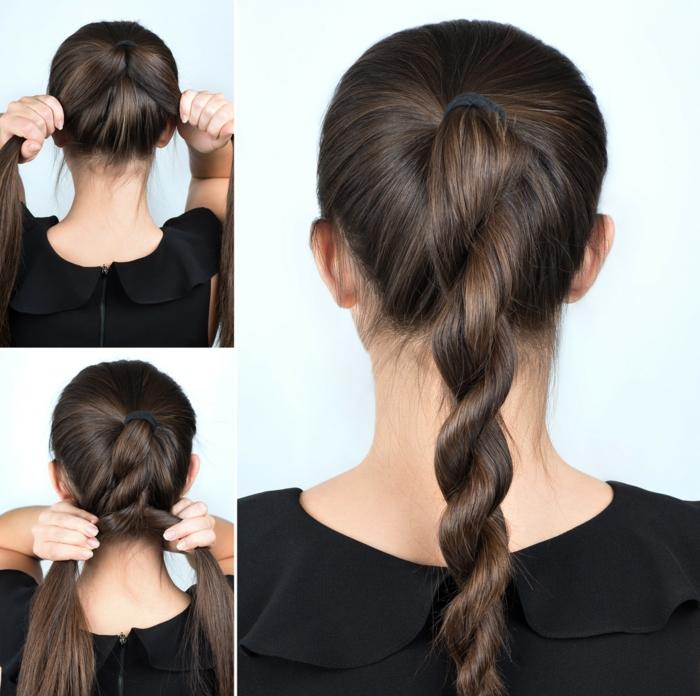 magníficas ideas de recogidos faciles con tutoriales, coleta retorcida de dos secciones, cabello castaño muy largo en coleta alta