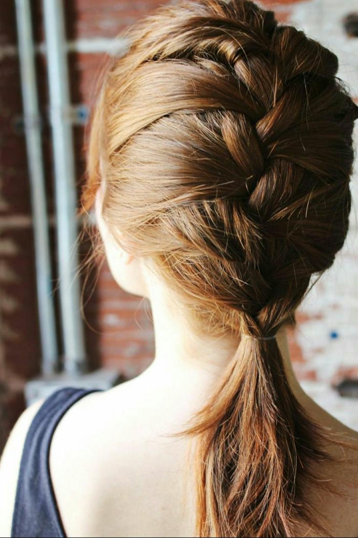 peinados faciles pelo corto y media melena, trenza francesa original, ideas de peinados con trenzas