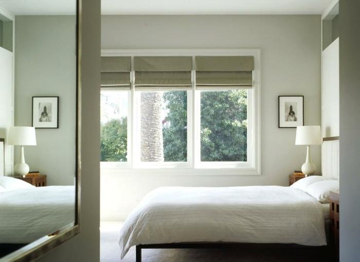 habitaciones matrimonio en estilo minimalista, decoracion de paredes en colores claros, cama doble