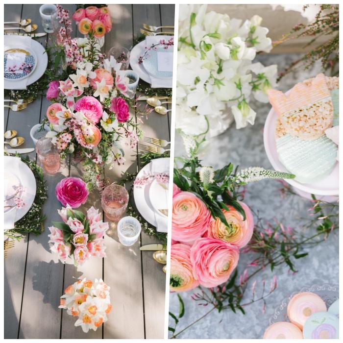 adorables propuestas de centros de mesa DIY con flores, ideas sobre como decorar una mesa para una fiesta