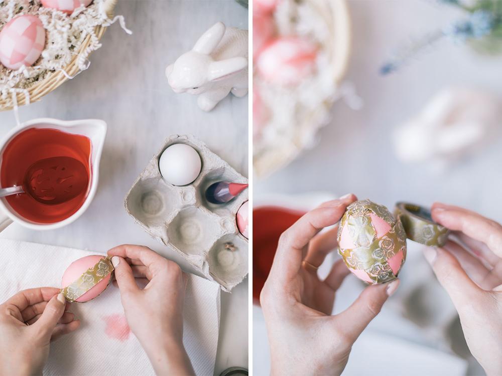 como hacer huevos de pascua originales paso a paso, huevos DIY con pinturas y washi tape