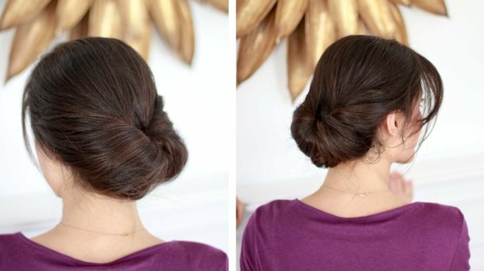 las propuestas más elegantes de peinados faciles pelo largo, recogido simple y chic con mechones sueltos