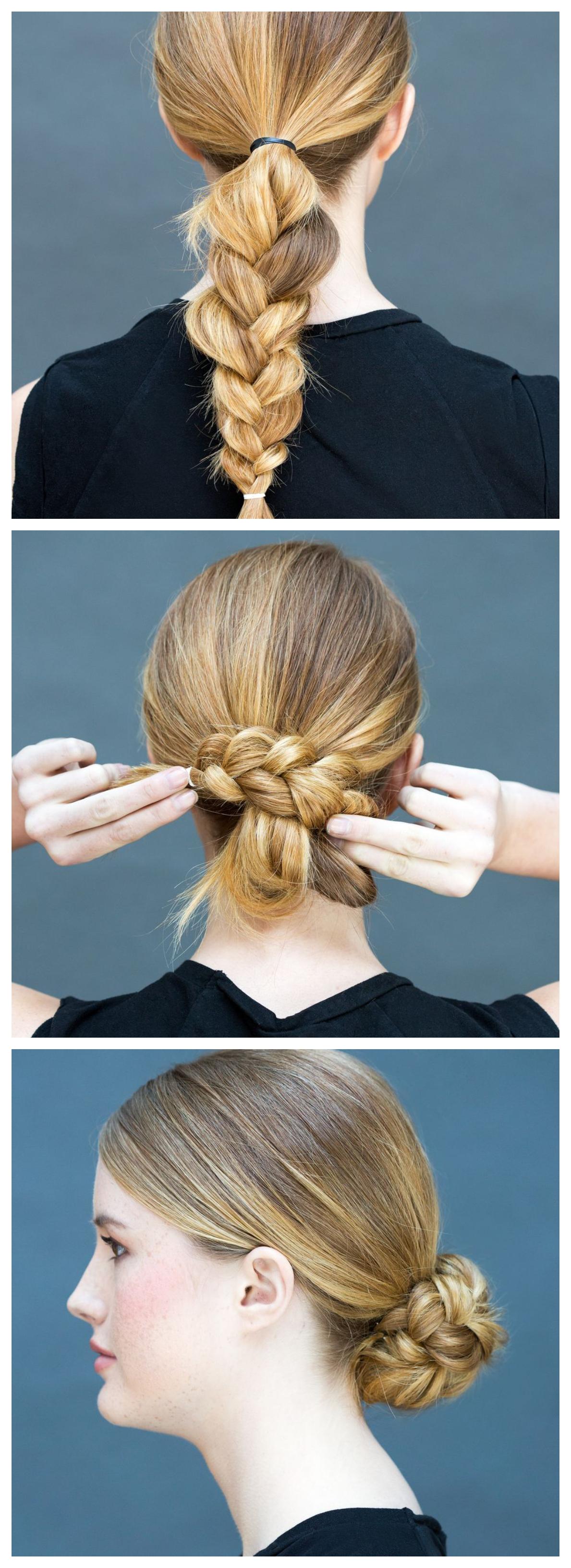 cómo hacer un bollo trenzado de una trenza, recogidos faciles para cabello largo y media melena