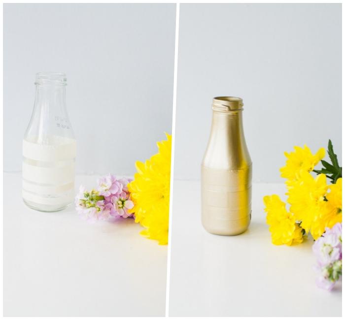 como decorar una mesa con mucho encanto, floreros decorados a mano, jarrón de flores en dorado