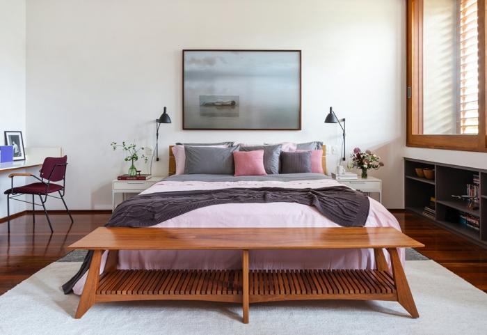 habitaciones matrimonio decoradas según las últimas tendencias, paredes blancas decoracion en gris y rosado