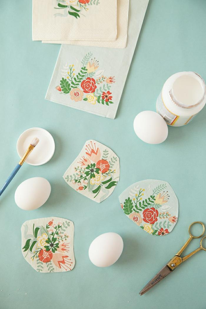 ingeniosas ideas de manualidades pascua, técnica decoupage con trozos de servilletas motivos florales