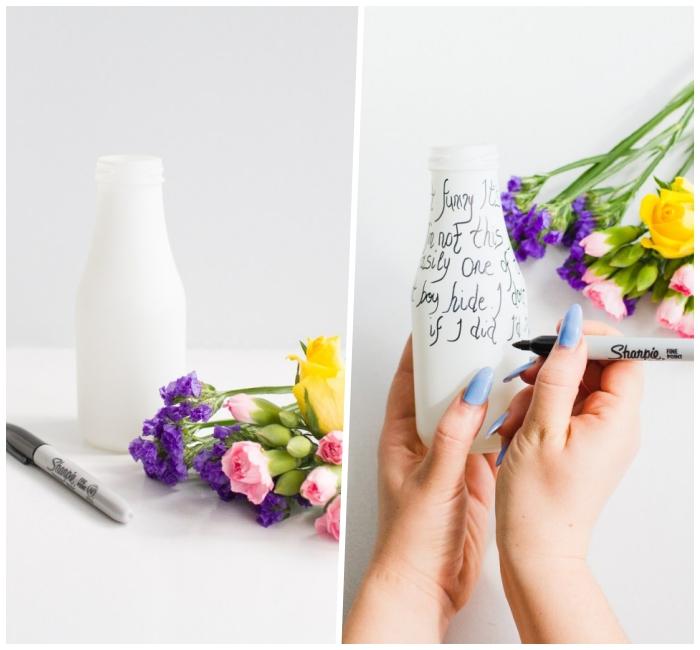 cómo decorar un florero DIY con un marcador negro, preciosas propuestas sobre que poner encima de una mesa de comedor en primavera