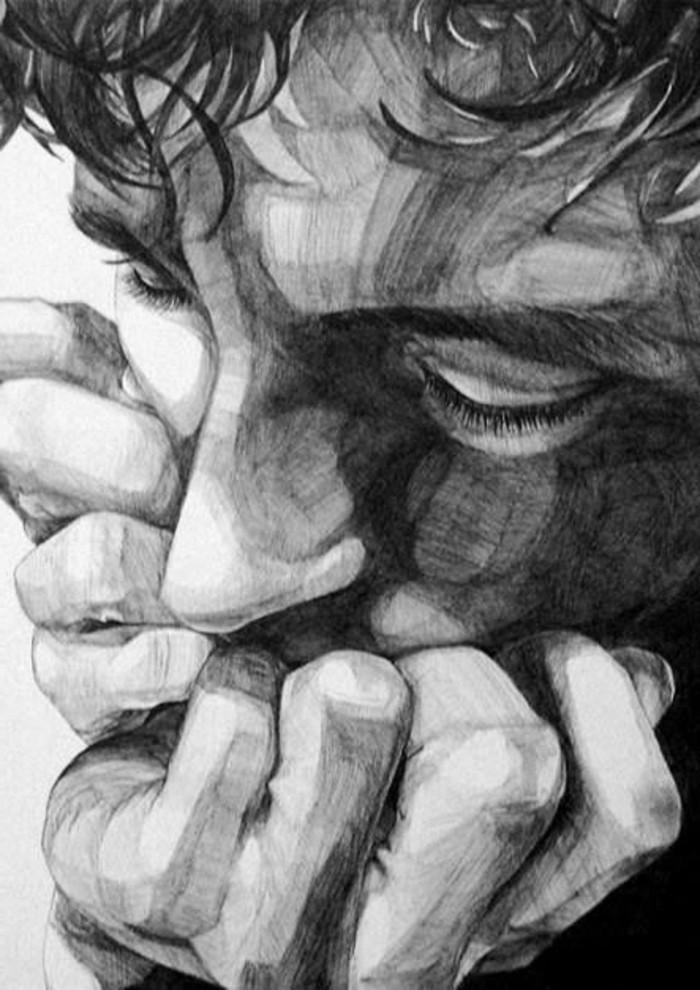 precioso dibujo de cara de hombre y sus manos, dibujos a lapiz sencillos y originales, imagines de dibujos