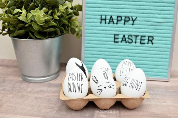 decorar huevos de mascua con marcadores negros, ideas para decorar la casa en primavera, 100 ideas en imagines
