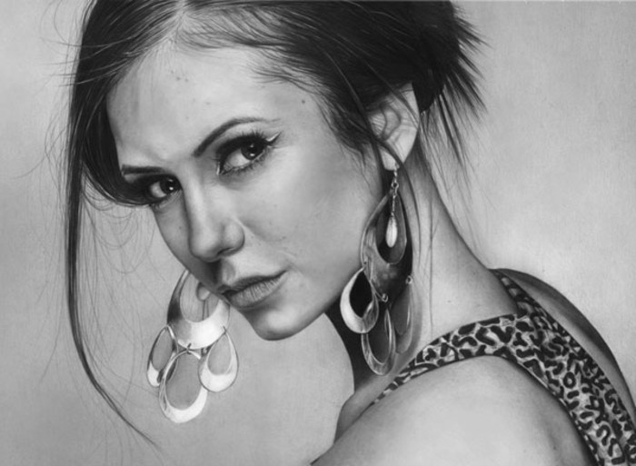 precioso retrato de la actriz búlgara Nina Dobrev, dibujos retratos estilo realista hechos con lapiz